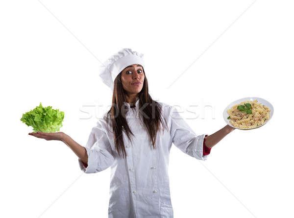 Szakács határozatlan friss saláta tészta edény Stock fotó © alphaspirit