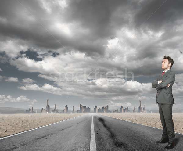 Imprenditore strada deserto nube lavoro futuro Foto d'archivio © alphaspirit