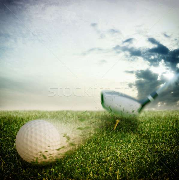 Golf bal club sport zomer veld Stockfoto © alphaspirit
