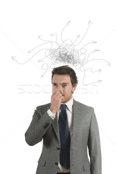 Verward zakenman pijl hoofd business weg Stockfoto © alphaspirit