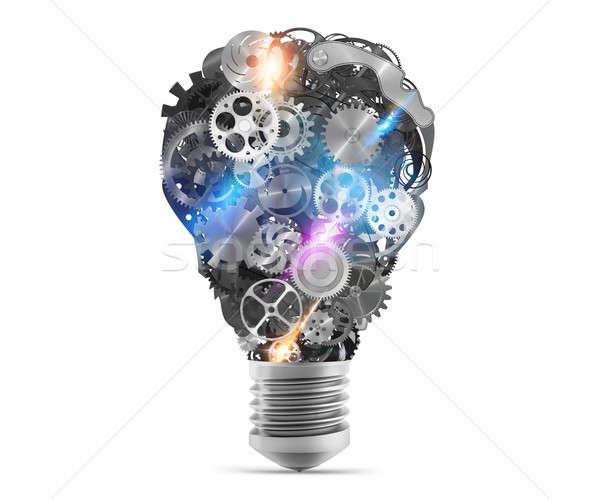 Lightbulb mechanisms of gears. 3d rendering Stock photo © alphaspirit