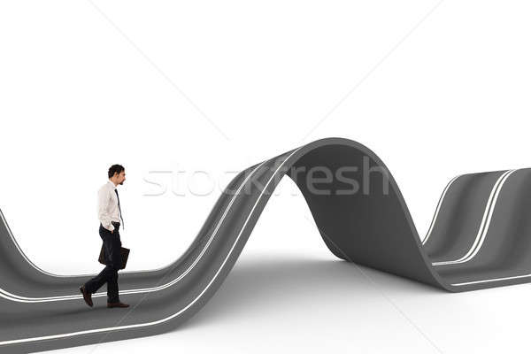 Businessman ready to start on a complicated road. Concept of challenge Stock photo © alphaspirit