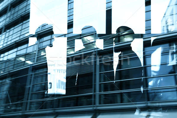 Businessmen that work together in office. Concept of teamwork, partnership and startup. double expos Stock photo © alphaspirit