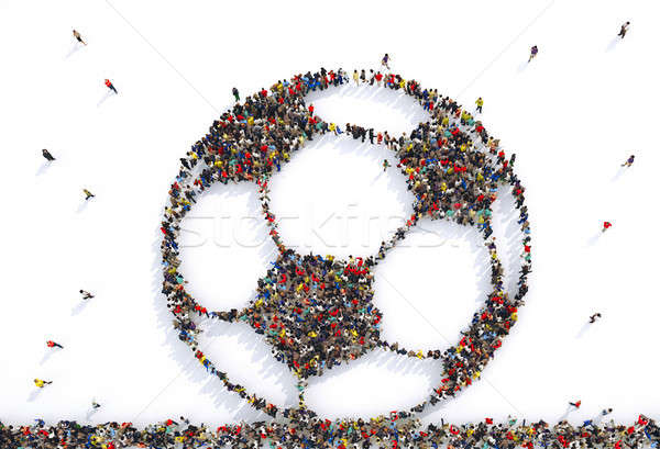 Many people together in a soccer ball shape. 3D Rendering Stock photo © alphaspirit