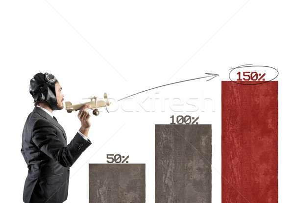 Business actie groeiend speelgoed vliegtuig statistiek Stockfoto © alphaspirit