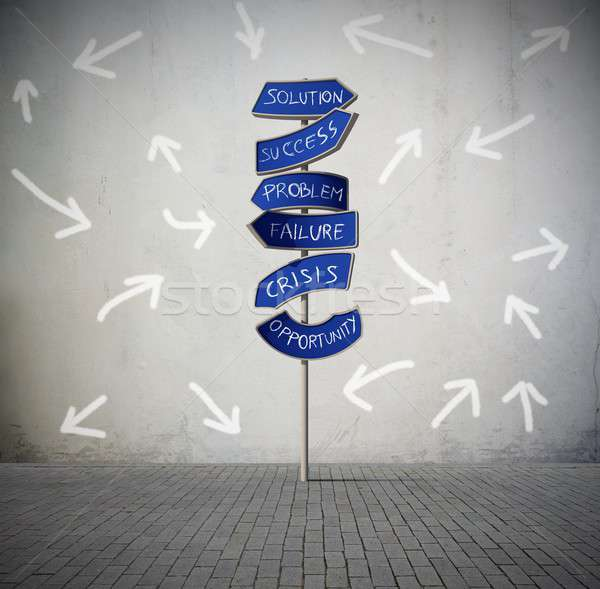 Zamieszanie arrow drogowego sygnał działalności przyszłości Zdjęcia stock © alphaspirit