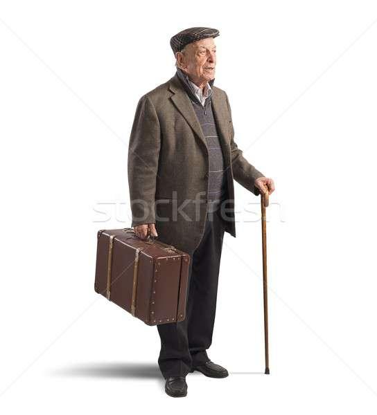 Old man with suitcase Stock photo © alphaspirit