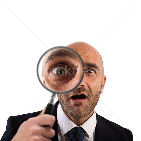 открытие бизнесмен увеличительное стекло белый человека Сток-фото © alphaspirit