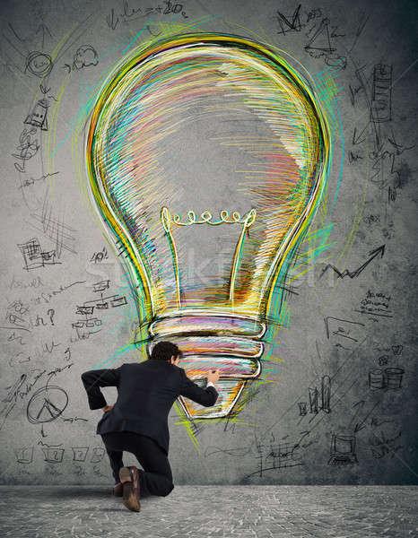 Foto stock: Pintura · negocios · idea · empresario · pared · grande