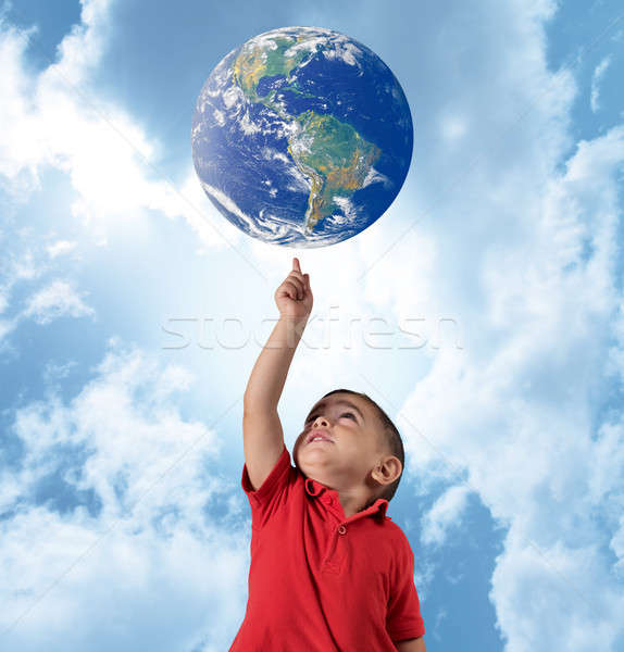 Young man indicate the world Stock photo © alphaspirit