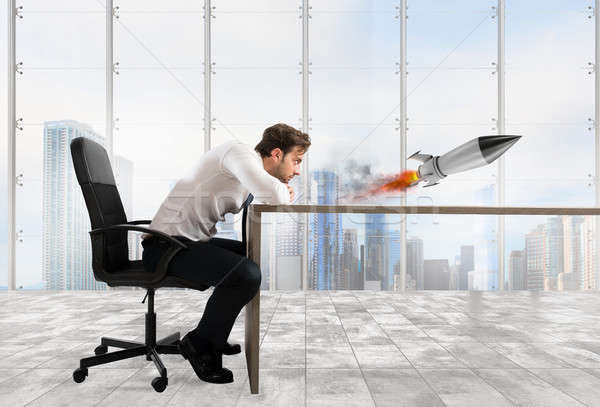 Startup of a new company with starting rocket. Concept of business growth Stock photo © alphaspirit