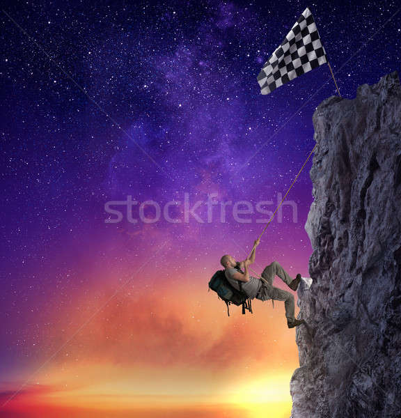 Foto stock: Empresário · subir · montanha · bandeira · realização · negócio