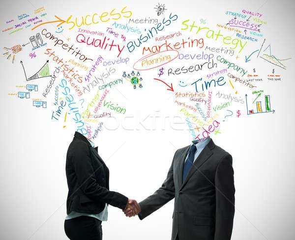 Handdruk business woorden geld vergadering Stockfoto © alphaspirit