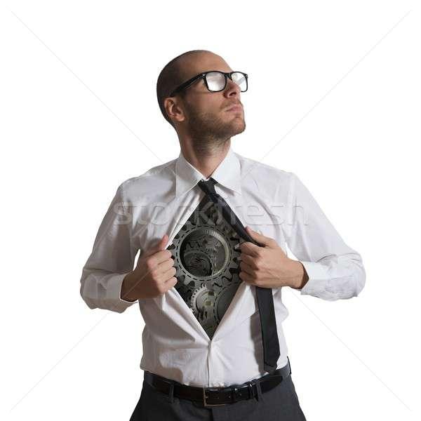 Hős viselet üzletember szuperhős férfiak szemüveg Stock fotó © alphaspirit
