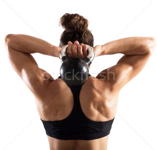 Workout with kettlebell Stock photo © alphaspirit