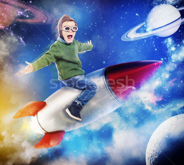 3D Rendering dreaming of flying in space Stock photo © alphaspirit