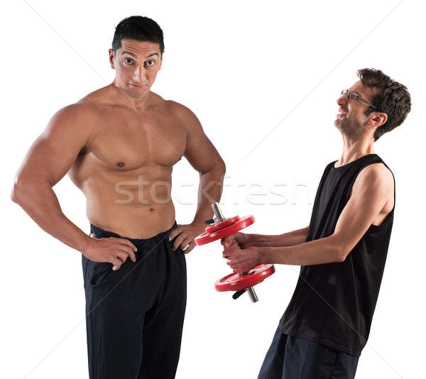 Gym instructor mockingly Stock photo © alphaspirit