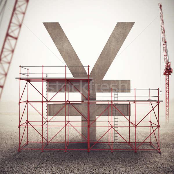 Yen gazdaság 3D renderelt kép állványzat fal Stock fotó © alphaspirit
