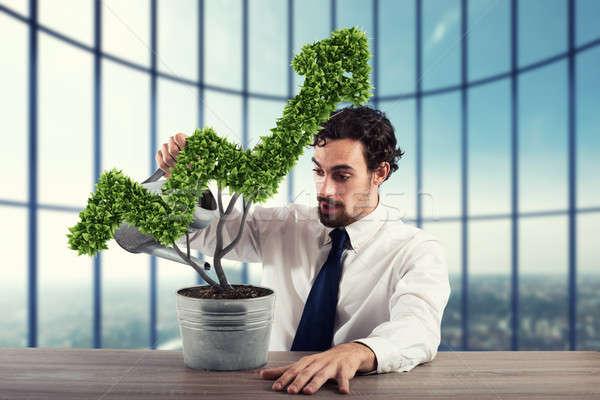 Groeiend economie bedrijf 3D zakenman Stockfoto © alphaspirit