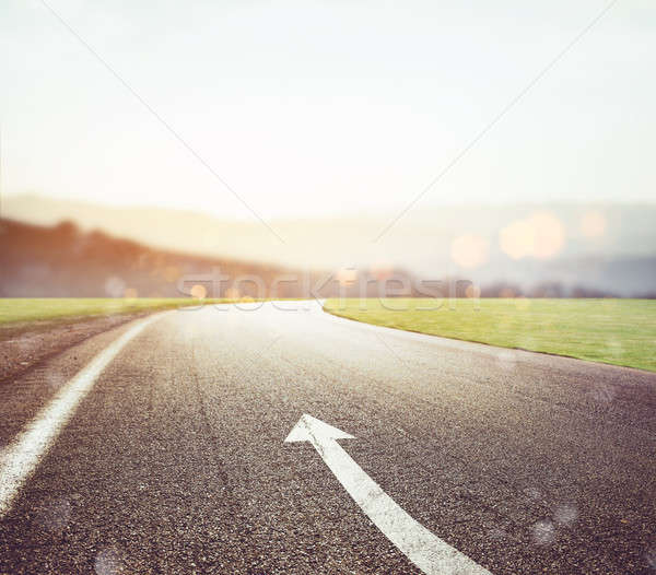Road with arrow sign pointing the way Stock photo © alphaspirit