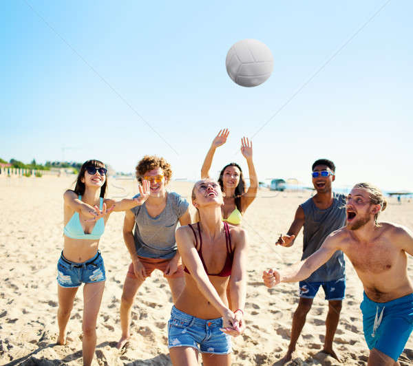 グループ 友達 演奏 ビーチ ボレー 幸せ ストックフォト © alphaspirit