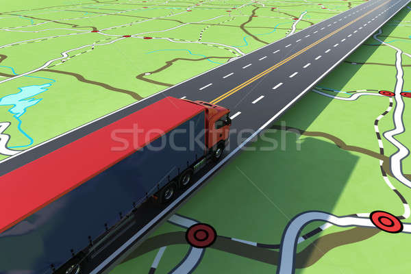 Fast truck in a highway. GPS tracking of shipment. 3D Rendering. Stock photo © alphaspirit