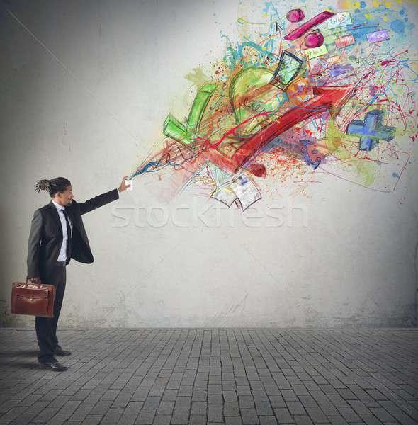 Színek diagramok statisztika kreatív üzletember százalékok Stock fotó © alphaspirit