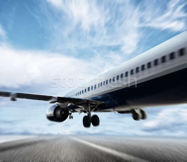 Aircraft taking off on a runway Stock photo © alphaspirit