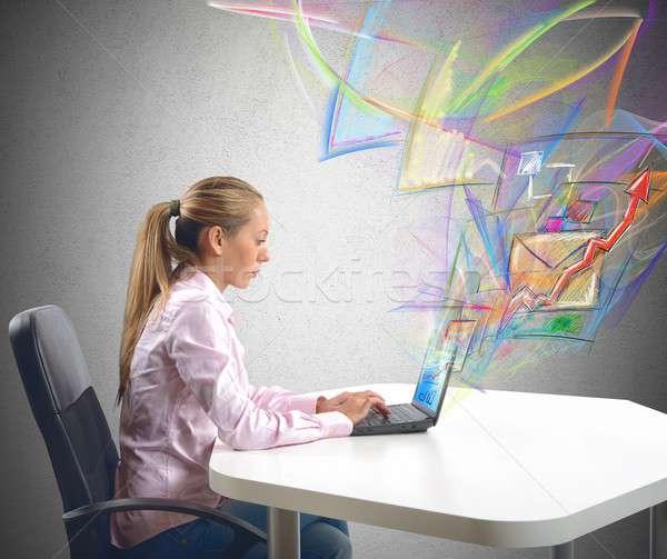 Mujer de negocios enviar mail trabajo negocios Foto stock © alphaspirit