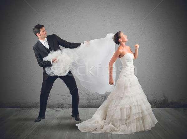 Menyasszonyi fátyol férj esküvő férfi házasság Stock fotó © alphaspirit