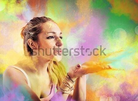 Retro şarkıcı mikrofon renk patlama müzik Stok fotoğraf © alphaspirit
