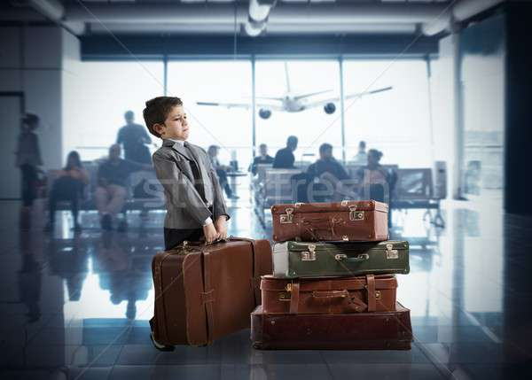 Young businessman in airport Stock photo © alphaspirit