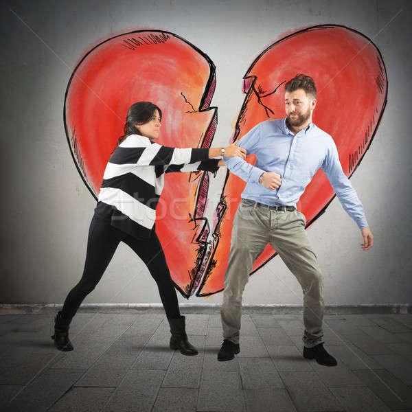 Kırmak kalp çift stres Stok fotoğraf © alphaspirit