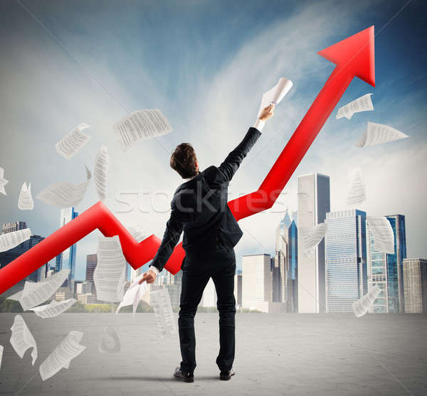Geschäftsmann erreicht Erfolg Business Mann Executive Stock foto © alphaspirit
