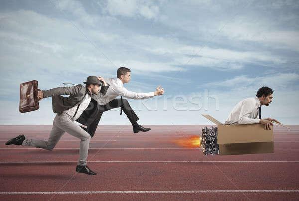 успех бизнесмен картона ракета гонка работу Сток-фото © alphaspirit