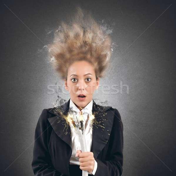 Schok zakenvrouw kabel business meisje man Stockfoto © alphaspirit