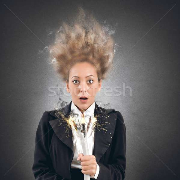 Shock businesswoman Stock photo © alphaspirit