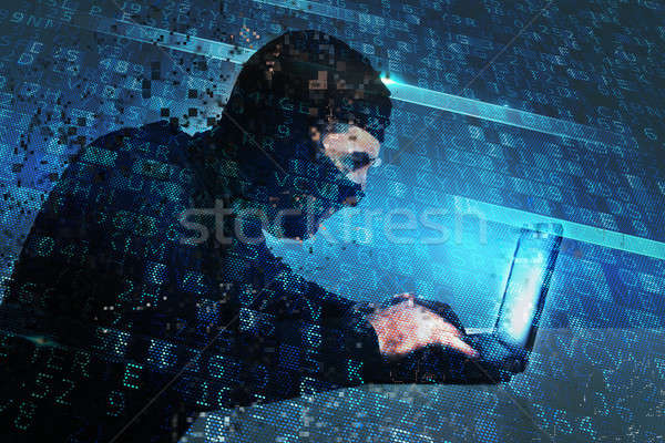 Hacker creates a backdoor access on a computer. Concept of internet security Stock photo © alphaspirit