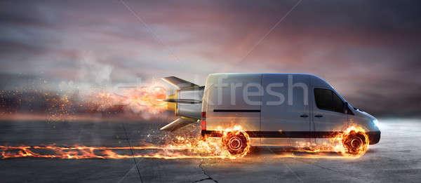 Szuper gyors házhozszállítás csomag szolgáltatás furgon Stock fotó © alphaspirit