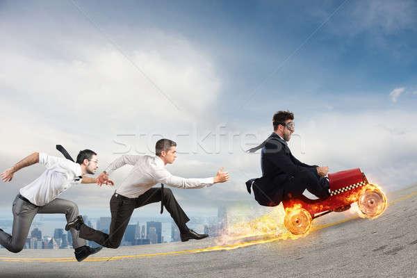 Rápido empresário carro concorrentes sucesso competição Foto stock © alphaspirit