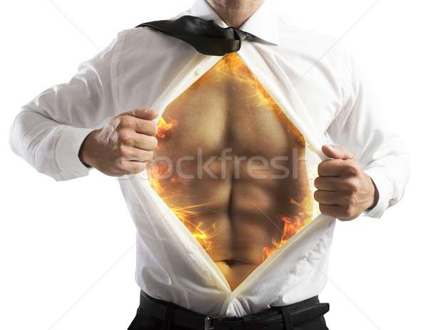 Fire abs businessman Stock photo © alphaspirit