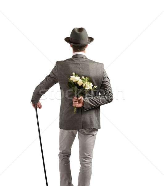 Dżentelmen bukiet biały róż miłości piękna Zdjęcia stock © alphaspirit