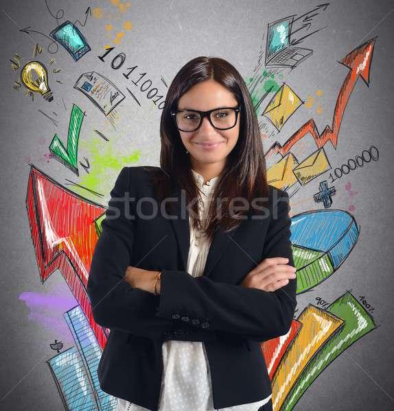 Stats businesswoman Stock photo © alphaspirit