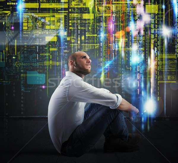 Hacker férfi ül bináris számítógép internet Stock fotó © alphaspirit