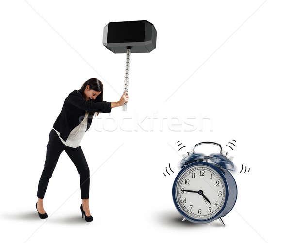 Durdurmak halka Alarm kadın çekiç zaman Stok fotoğraf © alphaspirit