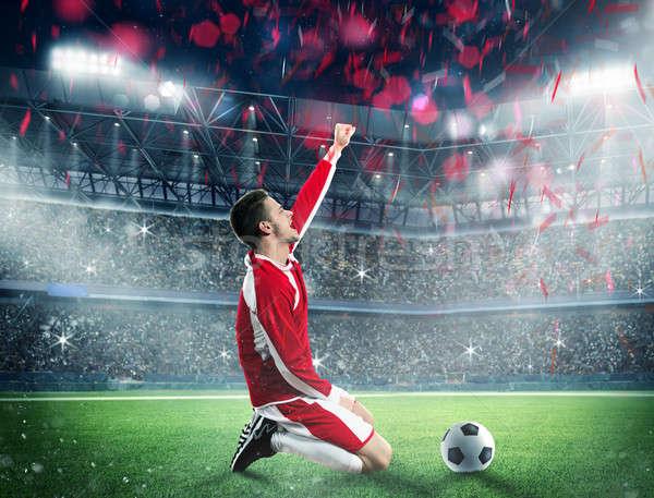 Ganar partido de fútbol futbolista estadio campo fútbol Foto stock © alphaspirit