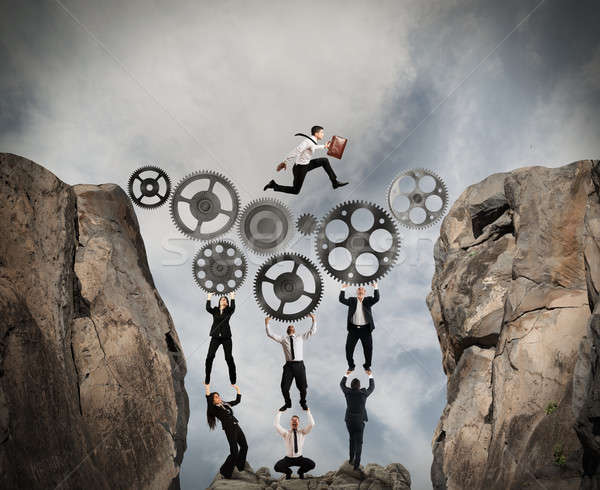 Concept of teamwork with gear system Stock photo © alphaspirit