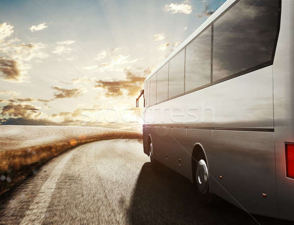 Bus driving on road. 3D Rendering Stock photo © alphaspirit