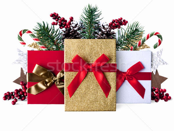 Xmas grunge decoration background with sparkly presents Stock photo © alphaspirit