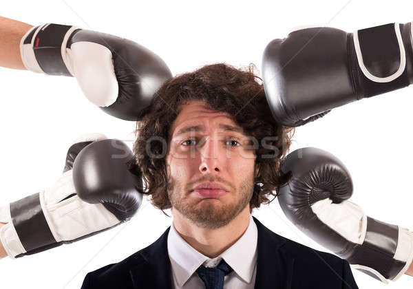 Lyukasztott bűnös üzletember mérges emberek szomorú Stock fotó © alphaspirit